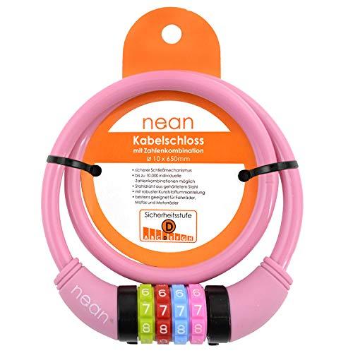 nean Fahrradschloss für Kinder, Zahlen-Code-Kombination-Kabel-Schloss, Rosa, 10 x 650 mm