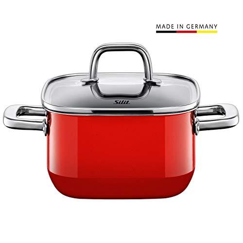 Silit Quadro Red Kochtopf quadratisch 16cm, Glasdeckel, Bratentopf 2,0l, Silargan Funktionskeramik, stapelbar, Topf Induktion, rot