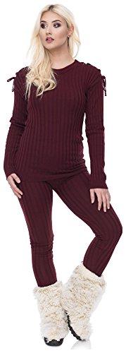 Loomiloo tweedelige set dames jumpsuit huispak gebreide pak pyjama hipster chill-koord koorden schouder geribd