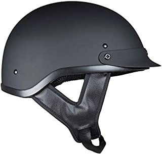 Fuel Helmets SH-HHFL66 Unisex-Adult Deluxe Shorty DOT Approved Motorcycle Half Helmet (Flat Black, Large)
