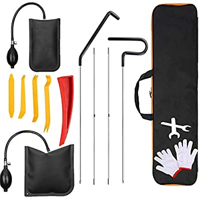 Professional Car Tool Kit, 14 PCS Automotive Essential Tools with Easy Entry Long Reach Grabber, Non Marring Wedge, Air Wedge Pump, Gloves, Wrench, Bags, Vehicle Emergency Tools for Cars Trucks