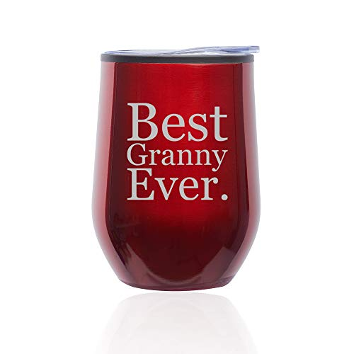 Stemless Wine Tumbler Coffee Travel Mug Glass With Lid Best Granny Ever (Red)