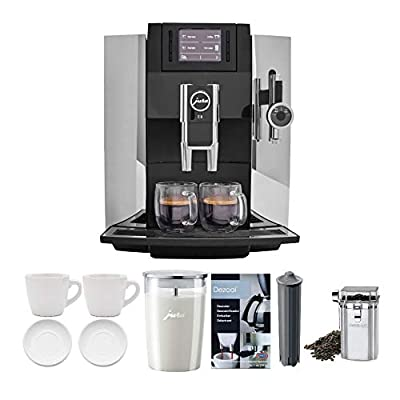 Jura 15097 E8 Smart Espresso Coffee Machine (Chrome) Bundle with Milk Container, Bean Container, Descaler, Filter and 2 Cups (7 Items)
