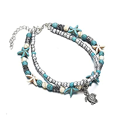 Softones Blue Starfish Turtle Anklet Multilayer Charm Beads Sea Handmade Boho Anklet Foot Jewelry for Women Girl