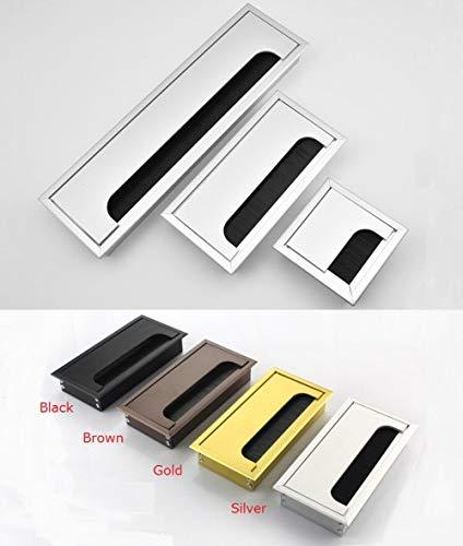 Piner 1 stuk Aluminium tafel Bureau Rechthoekige draad Kabeldoorvoer Gatafdekking Uitlaatpoort, Zwart, 80x120mm