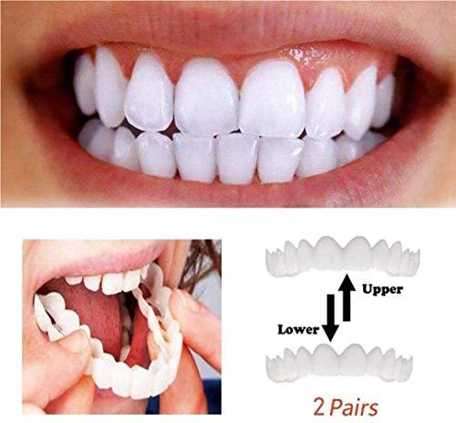 Mode 2 Paar Zähne Prothese Zähne Kosmetik Perfect Smile Snap-On Zahnspangen Instant Perfect Smile Comfort Fit Flex Zahnfurniere Einheitsgröße Komfortable obere und untere falsche Zähne