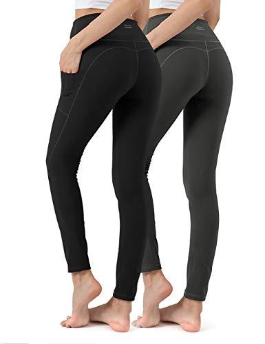 ALONG FIT Leggings Damen mit Taschen, 2er Pack Nicht durchsichtig Sporthose Damen Dehnbar Yogahosen für Damen