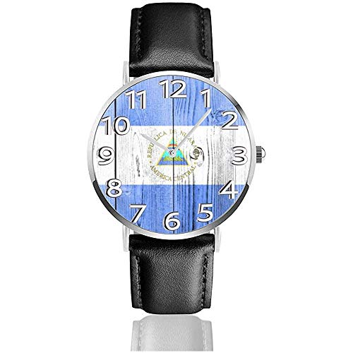 Bandera de Nicaragua Reloj Unisex de Madera Reloj Deportivo de Moda Reloj de Cuero Relojes de Pulsera Reloj Comercial
