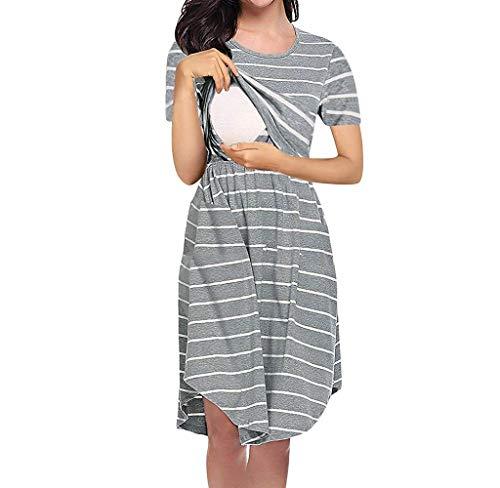 Jimmackey Pigiama Camicia da Notte Premaman da Donna Morbido in Cotone Vestito Camicia da Notte per Parto Ospedale Allattamento