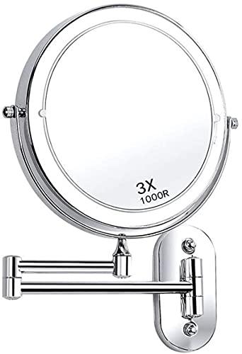 ROSG Espejo de Maquillaje de Montaje en Pared con luz LED Espejo de Maquillaje Giratorio Extensible de Dos Caras, Alimentado por 4 Pilas AAA de 8 Pulgadas para afeitarse en el Dormitorio o el bañ