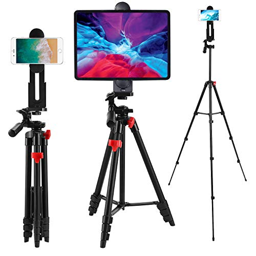 Tablet Tripod 53 inch iPad Tripod Aluminum Smartphone Tripod for iPhone iPad Pro Camera Mobile Phone Lightweight Travel Selfie Stand Tripod Red