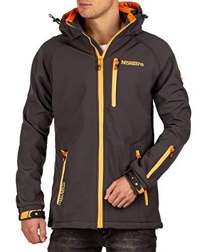 Geographical Norway Herren Softshell Jacke mit Abnehmbarer Kapuze Dark Grey XL