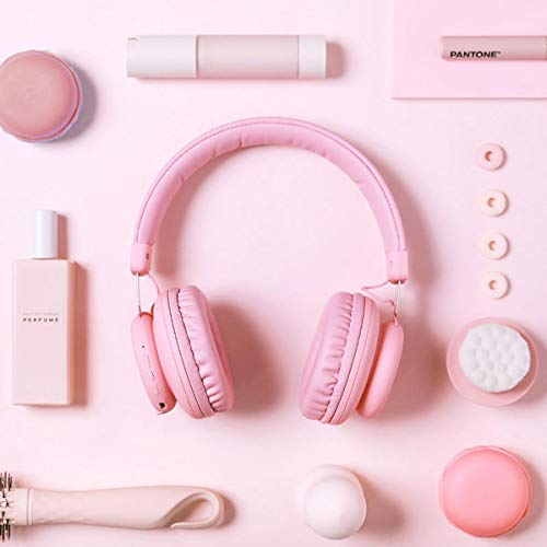 Ryyland-Home Gaming-Headset Gaming Headset Faltbare Retractable Bluetooth 5.0 Funkkopfhörer Super Bass Noise Reduction Compact Gaming Headset Leicht (Color : Pink, Size : M)