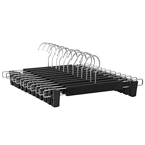 SONGMICS Hosenbügel, 12er Set, Kleiderbügel, gut belastbar, mit Clips, Rockbügel aus Kunststoff, platzsparend, um 360° drehbarer Haken, 35 cm lang, schwarz-silbern CRP002B01