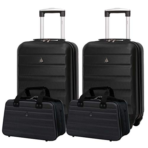 Aerolite Ryanair 55x35x20cm Lightweight ABS Hard Shell Travel Carry On Cabin Hand Luggage Suitcase + 40x20x25cm Hand Cabin Shoulder Bag 2X Black + 2X Black