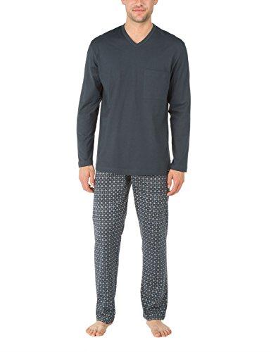 Calida Herren Zweiteiliger Schlafanzug Pyjama Queens Grau (anthrazit 989) X-Large (Herstellergröße: XL=54/56)