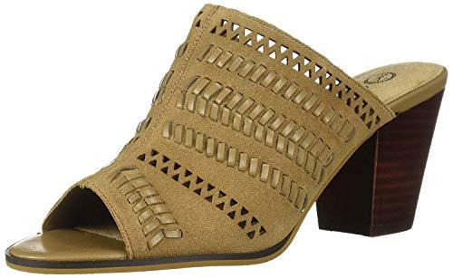 Bella Vita Women's Koraline Slide Sandal on Block Heel Shoe, Desert Suede Leather, 9.5 W US