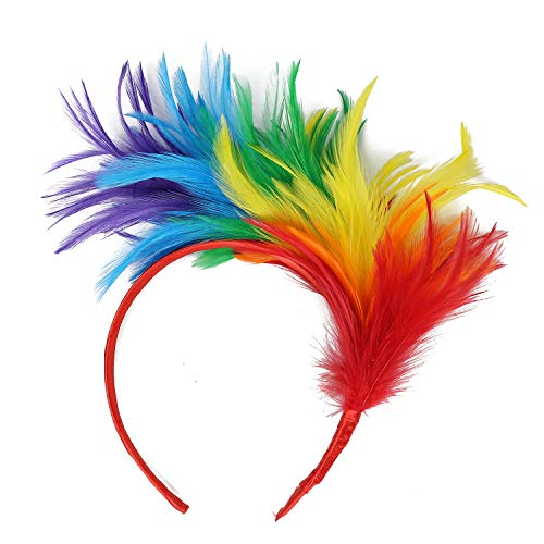 UEVOS Stirnband Damen Kopfband Flapper Straußenfeder Phantasie Headwear Vintage bunte Burlesque Headpiece Haarschmuck Tiara
