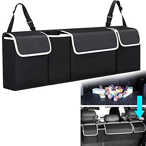 KLEVERISE Car Trunk Organizer - Backseat Hanging Storage Bag - Foldable Tidy Trunk Organizer Large