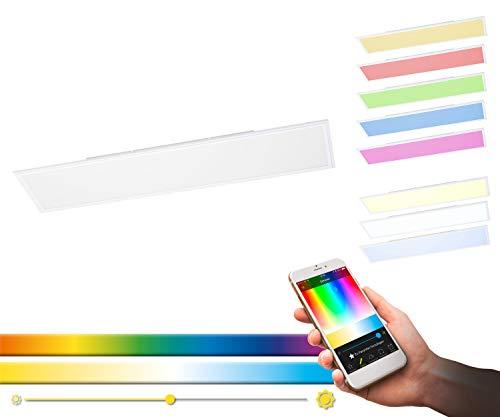 EGLO connect LED Deckenleuchte Salobrena-C Panel, Smart Home Deckenlampe, Material: Aluminium, Kunststoff, Farbe: Weiß, 120x30 cm, dimmbar, Weißtöne und Farben einstellbar