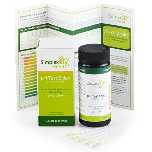 SimplexHealth PH-Teststreifen 4,5–9,0 Urin & Speichel Acid Alkaline pH Testen (125 Streifen) besser als Lackmus-Papier
