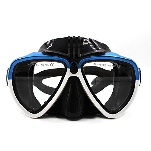 jeerui soporte de tornillo de cristal con desmontable máscara de buceo Scuba tubo de buceo gafas de natación de silicona para deporte cámara Gopro HD Hero 233+ 4SJCAM Xiaomi Yi (azul & blanco)