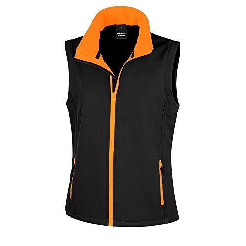 Result Core Damen Softshell-Weste, bedruckbar (Large) (Schwarz/Orange)