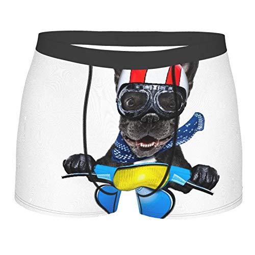 ZELXXXDA Männerunterwäsche,Verrückter Dummer Motorrad-französischer Bulldoggen-Hund, Boxershorts Atmungsaktive Komfortunterhose Größe XL