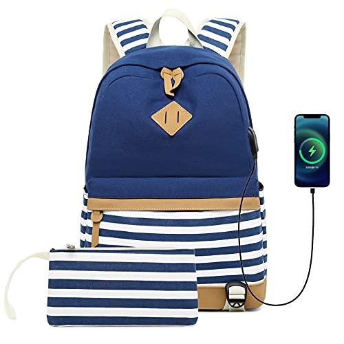 JOQINEER Mochila para mujeres Moda de viaje Bolsa de carga USB para adolescentes Niñas Colegio Estudiante Lienzo Mochila Daypack Casual Mochila de rayas