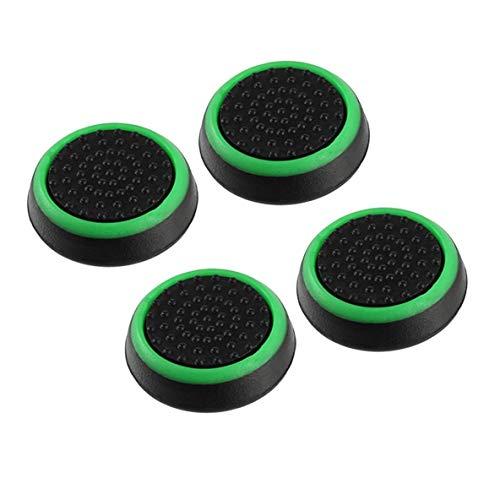 nbvmngjhjlkjlUK 4 Piezas de Silicona Antideslizante a Rayas Gamepad Keycap Controller Thumb Grips Funda Protectora para PS3 / 4 para X Box One / 360 (Negro y Verde)