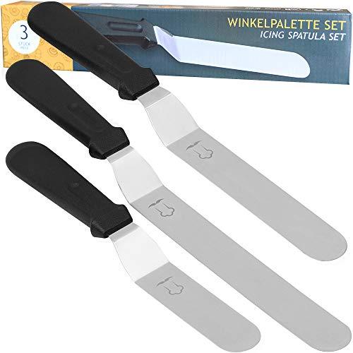 Chefarone Winkelpalette Set für Torte - 3 Streichpaletten Edelstahl für mehr Präzision beim Backen - 26 bis 36 cm (schwarz)