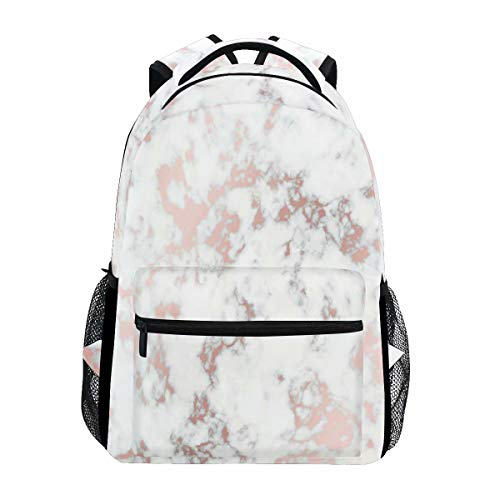 Wamika Rose Gold Marble Backpack Bookbags Daypack School Supplies for Students Girls Boys, Marble Laptop Bookbag Shoulder Bag Travel Sports for Men Women