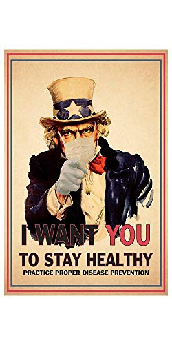 """ABG Print - Uncle Sam Poster - Mask Safety Awareness Prints - 11"""" x 17"""" Premium Paper Laminated Signs to Prevent Disease Spread - Perfect for Businesses, Offices, Restaurants"""