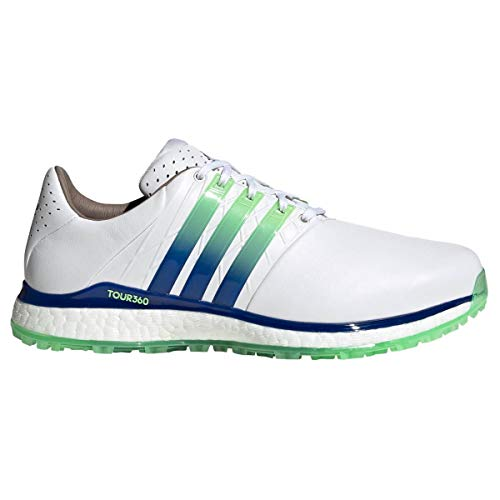 adidas TOUR360 XT-SL 2.0 Spikeless - Zapatos de golf para hombre, color blanco, azul y verde menta, talla 42 2/3