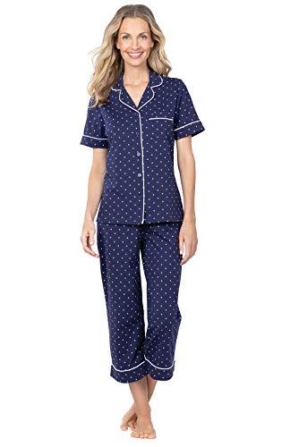 PajamaGram Capri Pajamas for Women - Cotton PJs Women, Polka Dot, Navy, L, 14-16