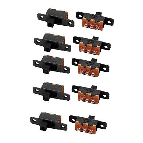 sourcing map 10Pcs SS-12F16 2 Posición 3P SPDT interruptor deslizante miniatura Enclavamiento interruptor de palanca
