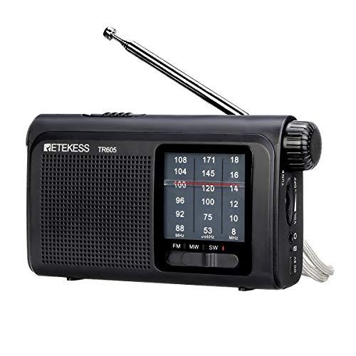 Retekess TR605 FM Am SW Radio Portátil, Radio de Bolsillo Tradicional, con Linterna de Emergencia, Batería Recargable, para Ancianos (Negro)