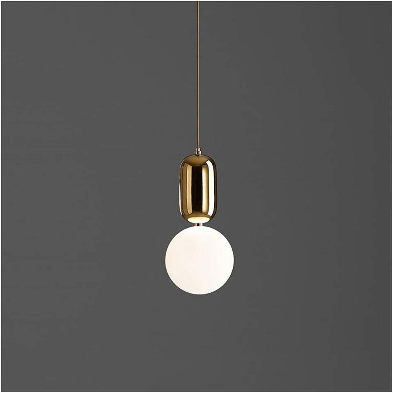 Lustre simple simple nordique, lampe de table de bar de balcon moderne, lustre de chambre à coucher, lampe de salle à hommeger décorative en verre (Couleur   or-S)