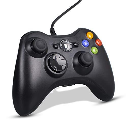 CHEREEKI Controller per PC, Controller di Gioco Cablato per Xbox 360, Xbox 360 Slim con Doppia Vibrazione e Design Ergonomico (Grigio Nero)