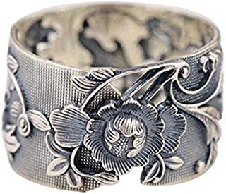Nattaphol 925 Silver Flower Ring Fashion 100% Real S925 Sterling Thai Silver Rings for Women Jewelry Adjustable Size