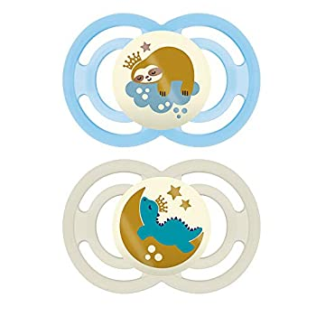 MAM Perfect Night Pacifiers Glow in the Dark Pacifiers  2 pack 1 Sterilizing Pacifier Case  MAM Pacifiers 16 Plus Months for Baby Boy Baby Pacifiers Designs May Vary