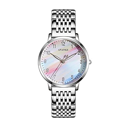 Mujeres Relojes, L'ananas Moda 32 mm Esfera de Reloj Colorida Acero Inoxidable Banda de Relojes Anolog de Cuarzo Relojes de Pulsera Women Watches Wristwatches (Plata)