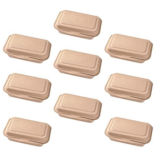 Hemoton 50 Piezas 600 Ml Caja de Comida Desechable Compartimento Único Tapa con Bisagras Contenedor de Comida Caja de Papel Ecológica para El Almuerzo para La Tienda del Hogar