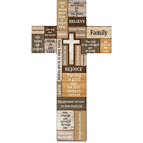 Jetec Farmhouse Wall Decorations Christian Faith Biblical Verse Wall Sign Wooden Plaque Table Centerpieces Cross with Inspirational Words Motivation Sign for Home Easter Party Decor, 10.6 x 6.1 Inch