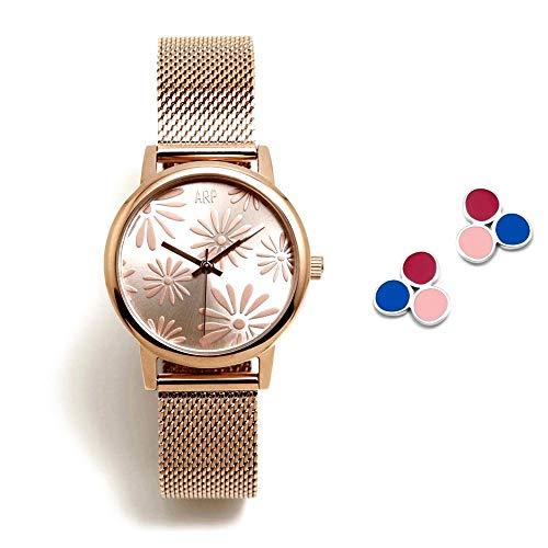 Juego Agatha Ruiz de la Prada reloj AGR260 rosado pendientes plata Ley 925m trío círculos colores - Modelo: AGR260