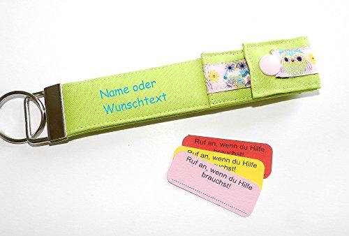 Schulanfang kleines Geschenk zur Einschulung SOS Schlüsselanhänger Eule mit Namen Geschenk für Schulkinder Kinder