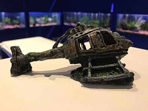 Mezzaluna Gifts Kleines Wrack Aquarium Fisch Ornament Flugzeug ~ U-Boot ~ Hubschrauber ~ Boot ~ Schiff (Hubschrauber)