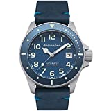 SPINNAKER Men's Spence 41.5mm Black Leather Band Steel Case Automatic Blue Dial Analog Watch SP-5066-02