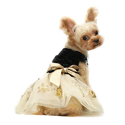Fitwarm Embroidery Sequins Dog Dresses Tulle Pet Clothes Cat Gown Black Small