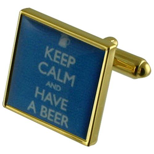 Select Gifts Bier-Trinken Goldene Manschettenknöpfe personalisiert graviert box